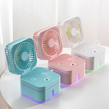 цена на Mini USB Humidifying Spray Fan Portable Rechargeable Humidifying Fan For Office Desk Home Humidifier Fans