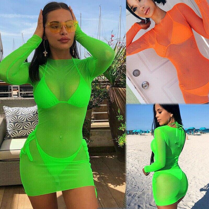 Sexy Women Mesh Beach Cover Ups Transparent Blouse Long Sleeve Top Bikini Cover Up Kaftan Cape Short Dress Female Swimsuit