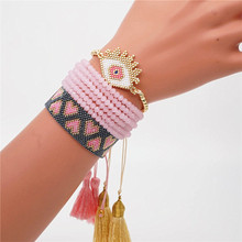 Shinus MIYUKI Evil Eye Bracelet Pink Heart Miyuki Joyeria Summer Tassel  Jewelry Pulseras Mujer Moda 2019 Boho Handmade