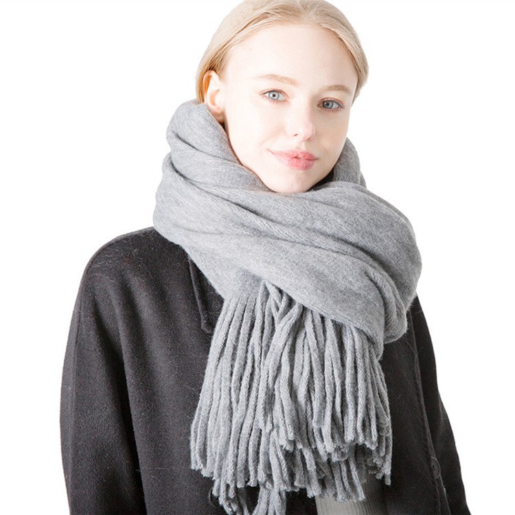Autumn And Winter New Style Long Tassels Solid Color Wool-like Fabric Scarf Men's Women's Warp Knitting Monochrome Thick Scarf S