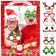 Glasses Photo-Frame Photobooth Christmas-Decorations Party for Home Merry Xmas New-Year