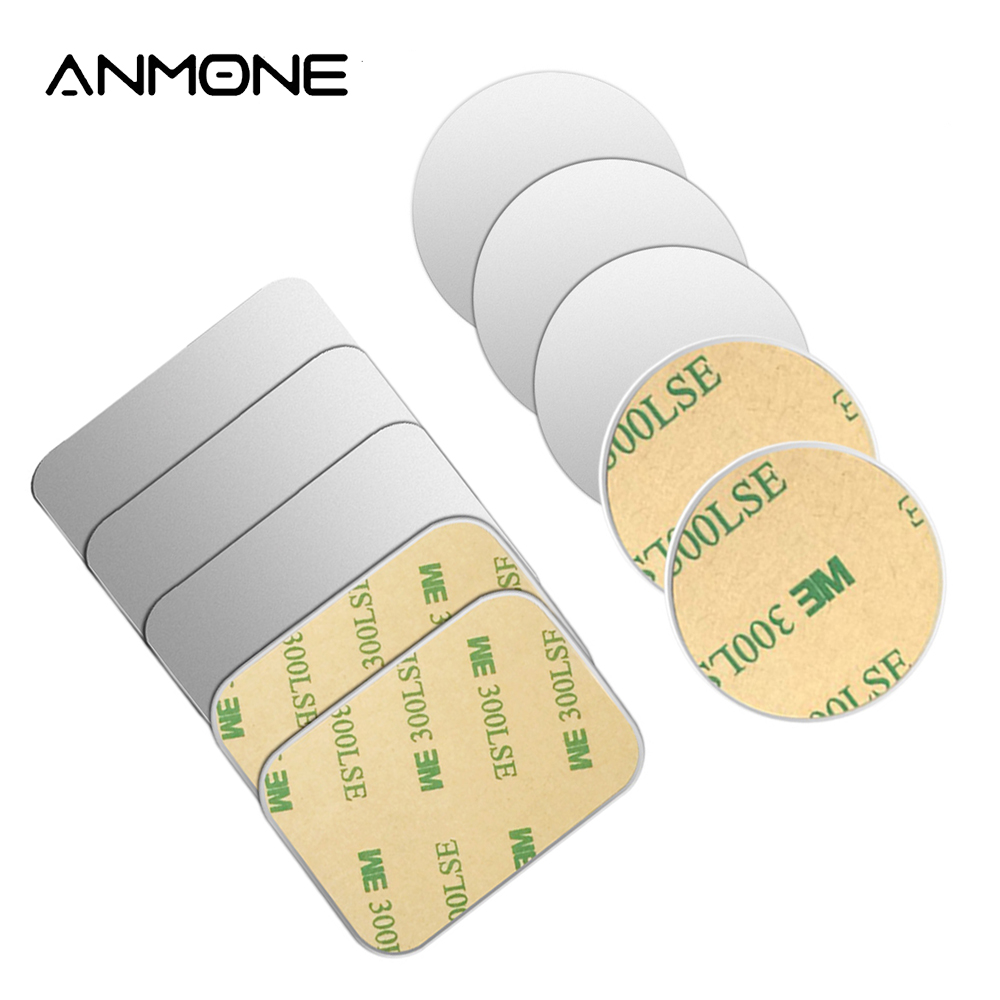 ANMONE 1PCS/5PCS Metal Plate For Magnetic Car Mobile Phone Holder Round & Square Replace Iron Sheet Disk For Magnet Phone Stand