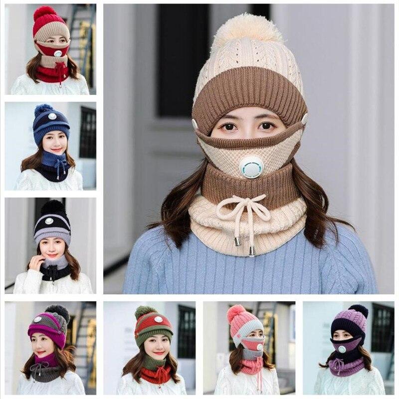 56-60 см вязание крючком флис шерсть шапка шарф и маска открытый мотоцикл женщины мужчина шапка вязаный зима супер ветрозащитный +теплый шапка
