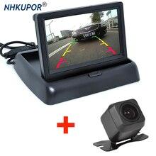 HD katlanabilir araba dikiz monitör ters ile 4.3 inç LCD TFT ekran gece görüş yedekleme dikiz kamera için en araç