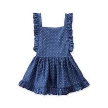 Summer Sleeveless Girls Polka dot Dress Ruffle Mini Dresses Girl 2020 Fashion Square Collar Kids Dress For Girls 4 Years D30 ruffle detail dot textured embroidery dress