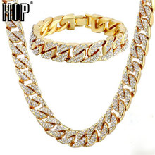 Hip Hop 1 Set Miami Cuban Chain Necklace Bracelet Iced Out Paved Rhinestones CZ Bling Rapper Necklaces For Men Jewelry недорого