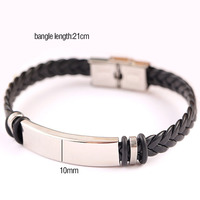 Stainless Steel Blank ID Tags Leather Bangles For Engrave Leather Braid Bracelet With Metal Plate Wholesale 50pcs