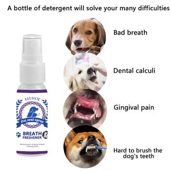 30ML Pet usta odświeżacz Pet Dog Spray odświeżacz powietrza Pet zęby oddech czyszczenie odświeżacz pies Dental Pet Spray pielęgnacja Cleaner tanie i dobre opinie CP2415456 10*3cm
