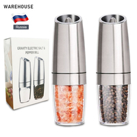 2019 Stainless Steel Pepper Mill Electric Gravity Salt and Pepper Grinder Operated Automatic Grinding Mills with LED Light Black