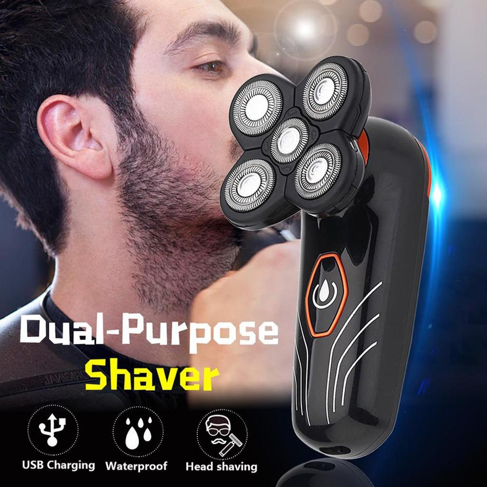 Rechargeable Waterproof Self Care Head Shaving Razor 5 Head Waterproof Floating Shaving Blade Razor Men Electric Shaver - 6