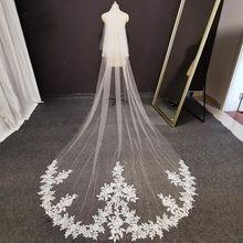 Fotos reais 2 camadas longo laço véu de casamento com blusher 3 m branco marfim macio tule véu nupcial acessórios de casamento