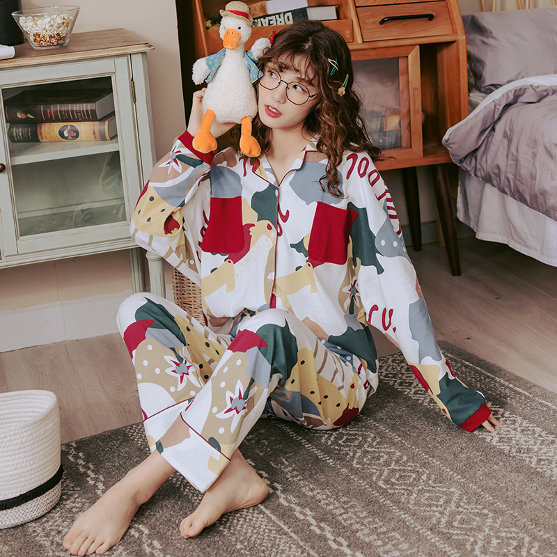 Hfcbeff7a5fc242018cc2c2b26d7f0f72f - BZEL Hot Sale Autumn Winter Sleepwear Cotton Ladies Pajamas Set Long Sleeves+Pans Underwear Lovely Nightwear Pijama Pyjama M-4XL