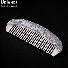 Combs Hair Fine-Jewelry Silver Women Uglyless Buddhism for Six/Words/Mantra Gift 999