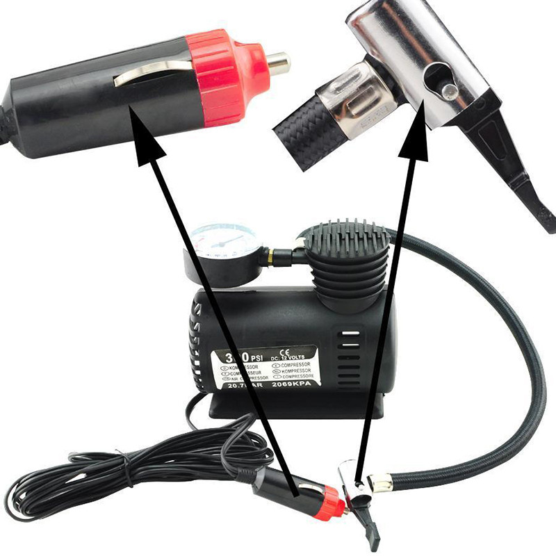 Universal 12V Electric Tire Inflator Pump Mini Air Compressor 300 PSI Car Motorcycle Inflatable Pump Car Accessories
