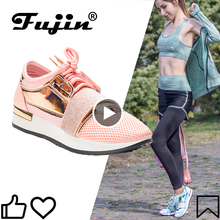 Fujin  Women Sneakers New 2020 Spring Fashion Pu Leather Platform shoes Ladies Trainers Chaussure Femme Women Casual Shoes