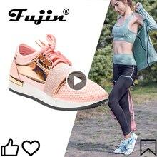 Fujin damskie trampki nowe 2020 wiosna moda Pu skórzane platformy buty damskie trenerzy Chaussure Femme damskie obuwie