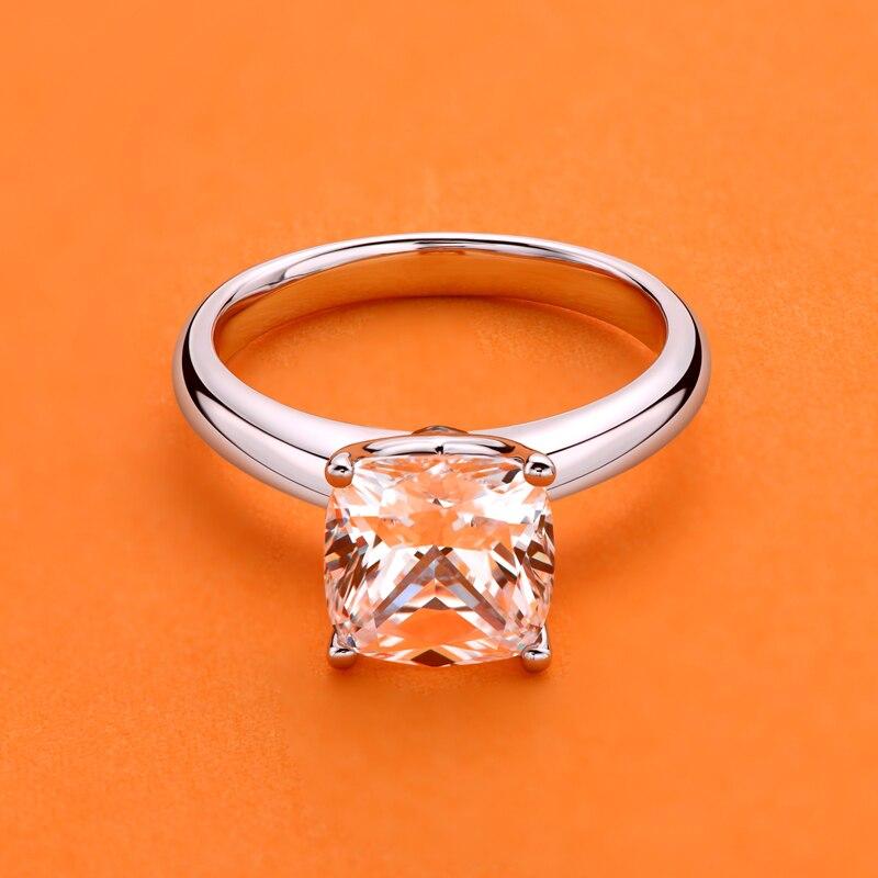 Anel de Noivado Anéis de Casamento Ainuoshi Prata Esterlina Almofada Corte Solitaire Simulado Diamante Jóias 925 3.0ct