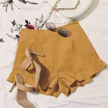 yellow ruffle shorts