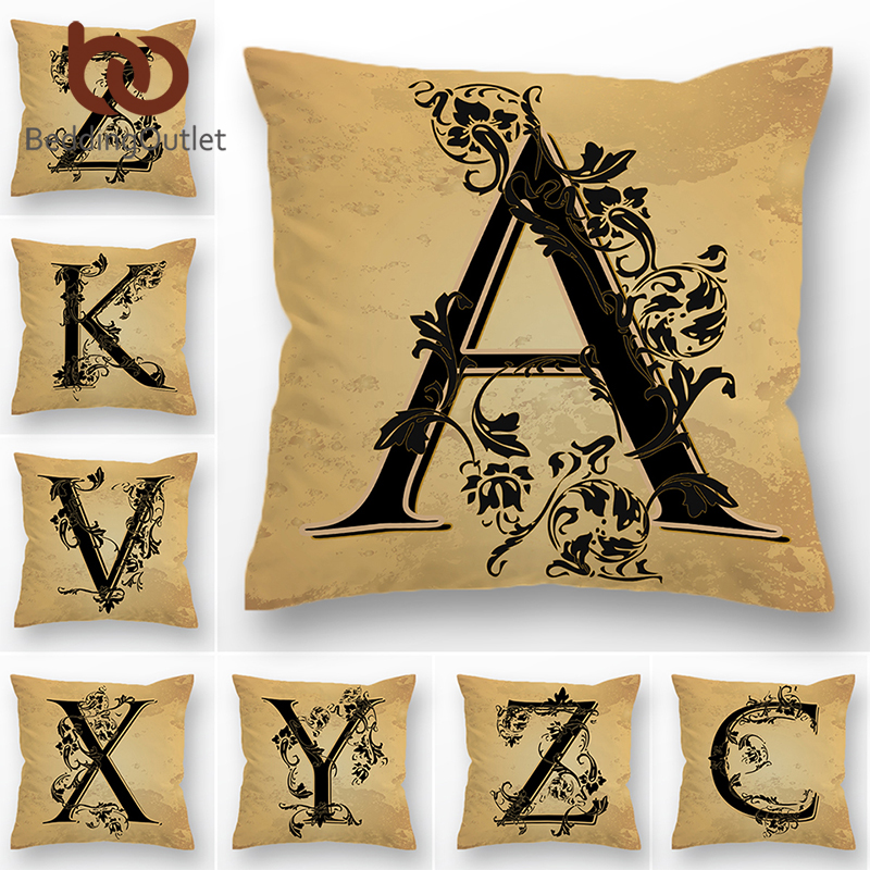 BeddingOutlet Letter Decorative Pillow Cover English Alphabet Cushion Cover For Sofa Bed Car Leaf Vintage Throw Pillowcase 45x45