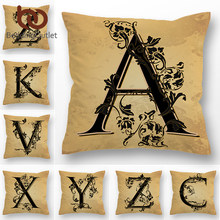 BeddingOutlet Letter Decorative Pillow Cover English Alphabet Cushion Cover For Sofa Bed Car Leaf Vintage Throw Pillowcase 45x45(China)
