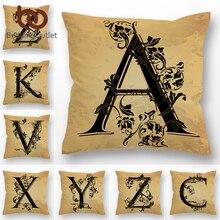 Funda decorativa para cojín con letras BeddingOutlet, funda de cojín con alfabeto inglés para sofá cama coche hoja Vintage, funda de almohada 45x45