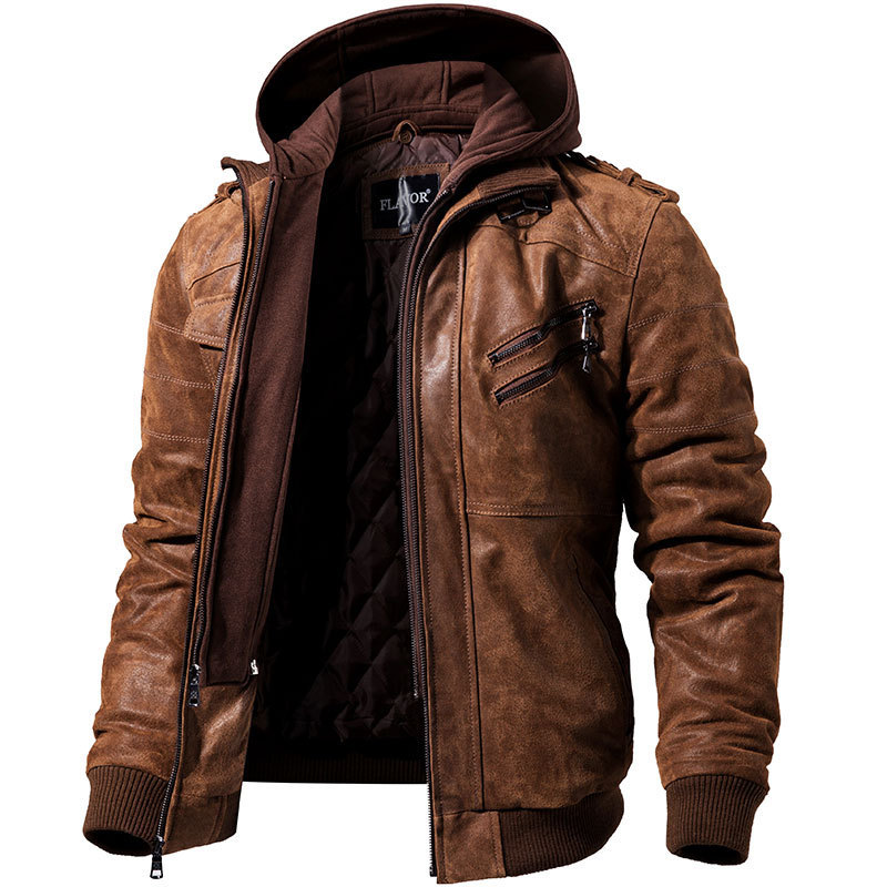 New Pu Leather Hooded Zipper Embellished Jacket Men's Fashion Moto Bike Top Coat Large Size High-grade Dropshipping Clothes