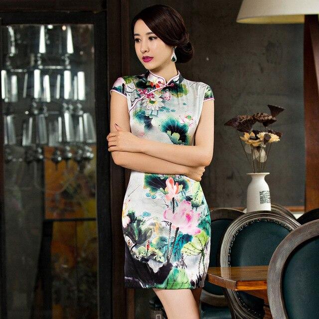 Новое шелковое платье Ципао с короткими рукавами для весны и лета 2019