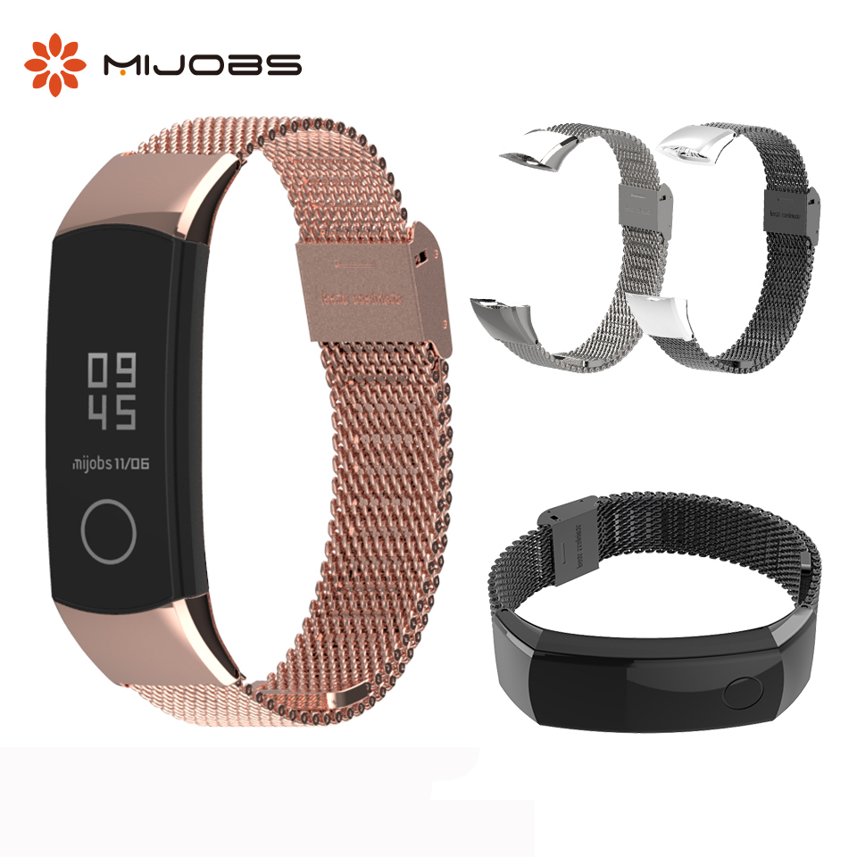 Metal Strap for Honor Band 3 Wristband Stainless Steel Bracelets for Huawei Honor 3 Band 4 Watch Band for Honor Band 4 Strap(China)