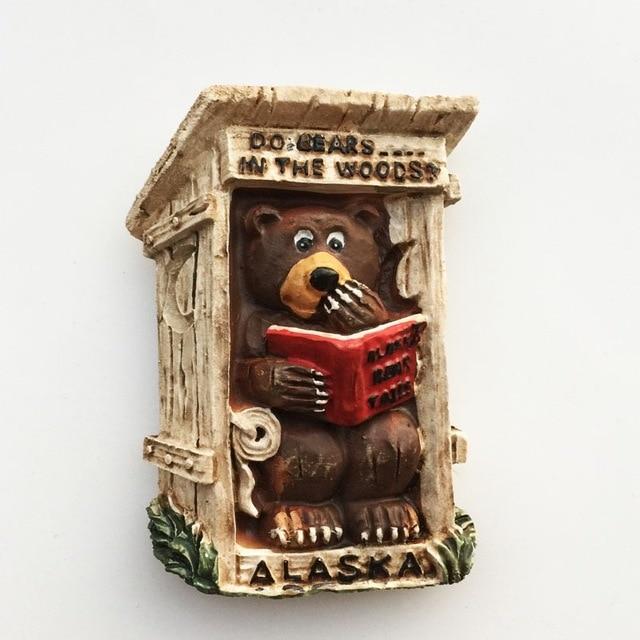 Alaskan Bear 3D Fridge Magnets Souvenir Alaska Magnetic Refrigerator Sticker Craft Resin Cartoon Animal Home Decor Gifts Ideas 5