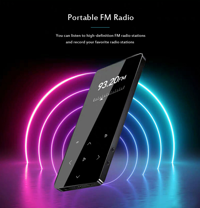 MP4 Player with Bluetooth Speaker Touch key Built-in 8GB 16GB HiFi  Portable Walkman with FM Radio Recording Music Player