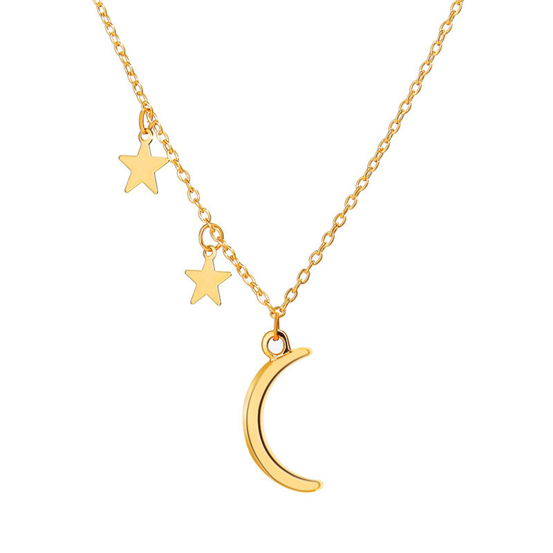 Modyle 2020 New Fashion Simple Vintage Moon Pendant Necklace for Women Gold Color Moon Star Choker Necklaces Jewelry