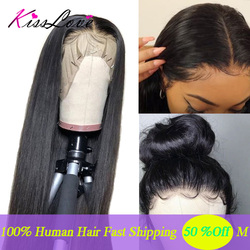 13x6 Lace Frontal Human Hair Wigs Pre Plucked Brazilian Straight Lace Frontal Wig with Baby Hair Middle Ratio Remy Kiss Love