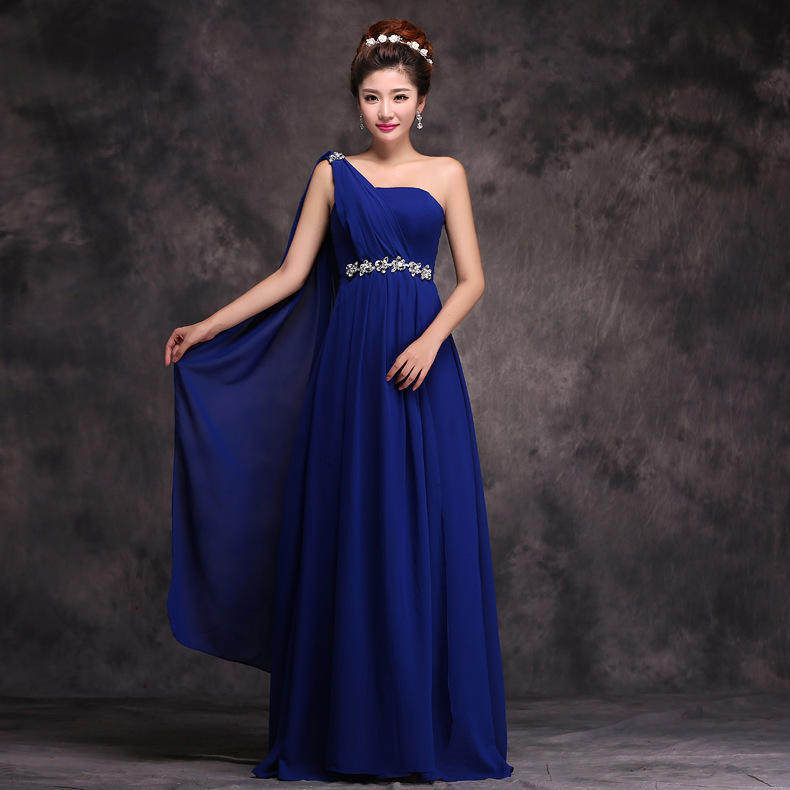 2019 New Style One-Shoulder Bridesmaid Formal Dress Long Bride Marriage Late Formal Dress Large Size Bridesmaid Service Sisters