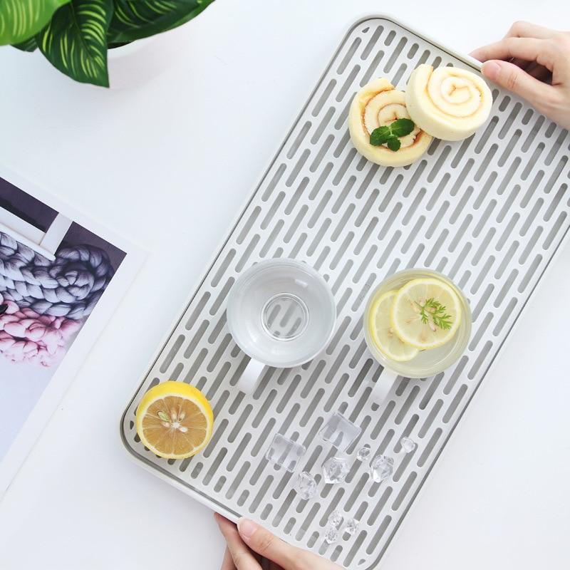 Двухслойная Стоковая стойка, пластиковая сушилка на раковину для посуды, поднос для хранения фруктов, Сервировочные лотки, декор для посуды, кухонный Органайзер-1