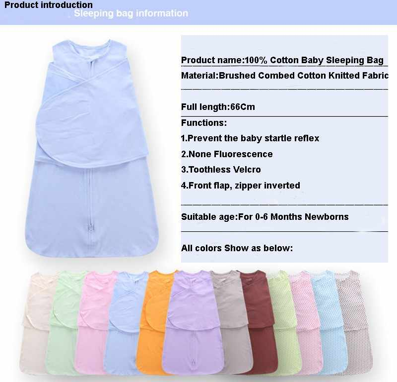 Saco de dormir 100% de algodón para bebés, sacos de dormir para bebés, envoltorio para recién nacidos, edredón antitipi para bebés, ropa de cama Unisex de 0 a 6 meses