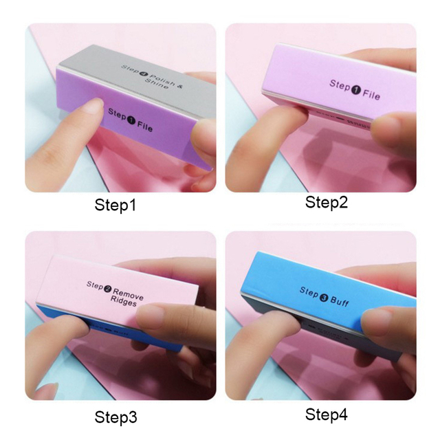 1 Set Pink White Form Nail Buffers File For UV Gel White Nail 2