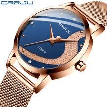 Women Watch CRRJU Stylish Rhinestone Watches Casual Waterproof Quartz Ladies Dress Blue Galaxy Mesh Watches relogio feminino