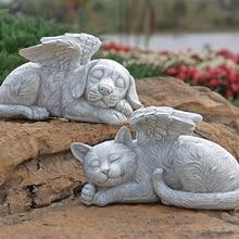 Angel pet memorial tombstone statue, sleeping angel cat and dog memorial statue tombstone, they are always there, just asleep