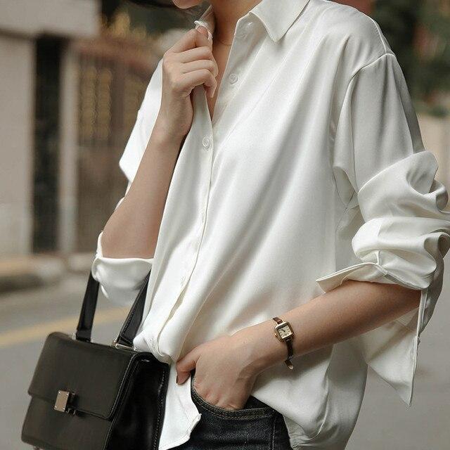 Женская винтажная блузка с отложным воротником, однотонная офисная однобортная Свободная белая рубашка, рабочая одежда, новинка весны 2020Рубашки    АлиЭкспресс