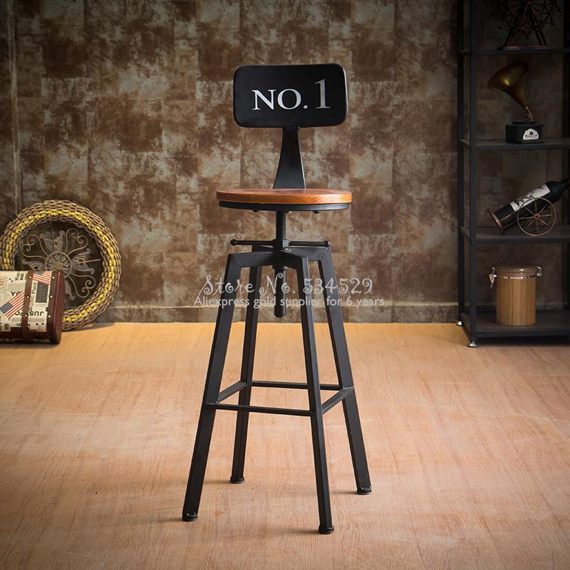 30%B Iron Bar Chair Industrial Wind Rotating Bar Stool Home Lifting Bar Chair Solid Wood High Chair High Bar Stool