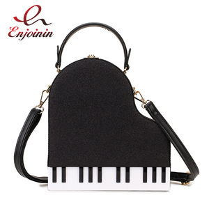 Image 1 - אופנה פסנתר סגנון גבירותיי תיבת צורת מסיבת תיק כתף תיק ארנקי עור מפוצל נקבה Crossbody תיק לנשים מעצב תיק