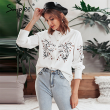 Simplee Floral print blouse shirt women Casual long sleeve v