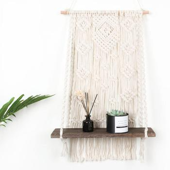 Cilected Hand-Woven Macrame Tapestries Rack Wooden Shelves For Wall Bohemian Decorative Shelves Wall Hanging Shelves Ornament фото