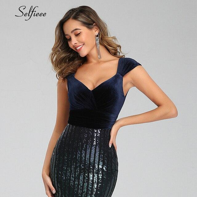 Sexy Sequin Dress Women Velour V-Neck Sleeveless Bodycon Mermaid Party Dress Sparkle Formal Maxi Dress Long Femme Robe 2020 5