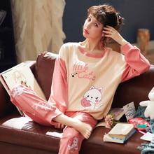 Jimiko Autumn Women Pajamas Set 100% Cotton Long Sleeve pyjamas Cute Cartoon Print Casual Home Clothing 2 Piece