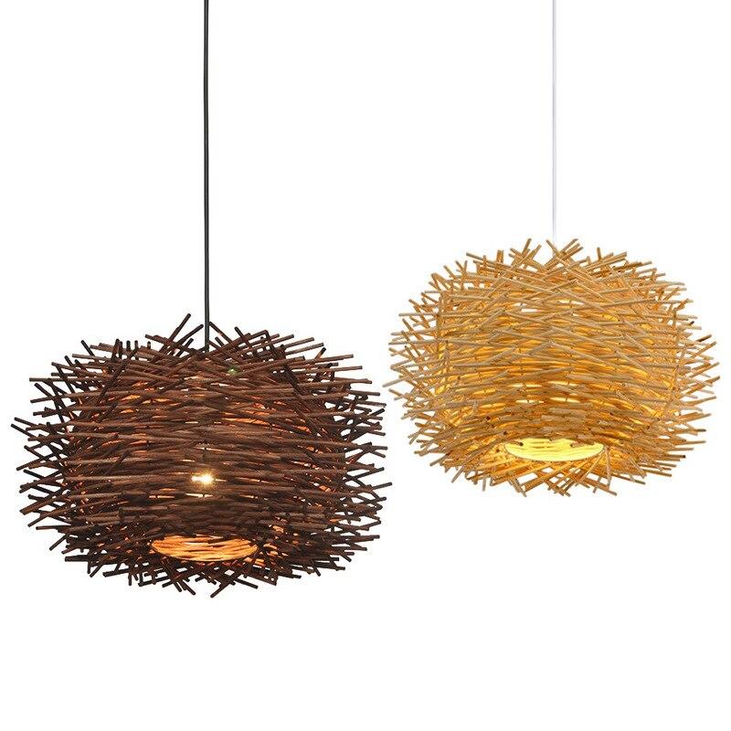 rattan levou lustre de iluminacao rodada ninho de passaro casa de bambu chapeu de palha lampada