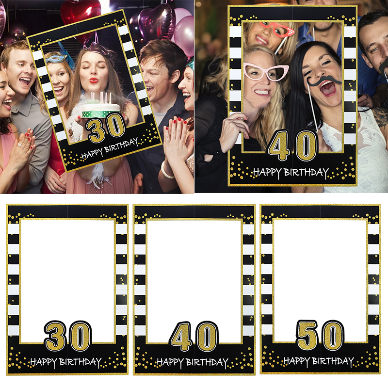 Happy <font><b>Birthday</b></font> 21 30 40 50 <font><b>60th</b></font> Party Photobooth props <font><b>Birthday</b></font> <font><b>Decoration</b></font> Adult Party photography background Prop Photo frame image