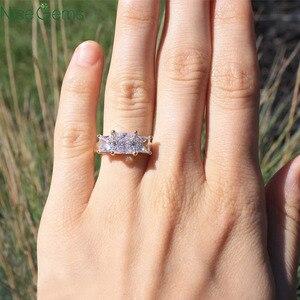 Image 5 - NiceGems 14K żółte złoto księżniczka Cut pierścień z trzema kamieniami centrum 1.5CT 6.5mm D kolor 3CTW Moissanite diamentowy pierścionek zaręczynowy VVS1