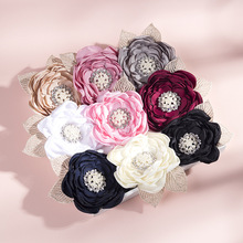 18 Pcs/Lot, 3.7 Inch Burned Flower With Pearl Rhinestone Center Baby Lace Headband, 2021 New Baby Shower Gift Hair Accessories
