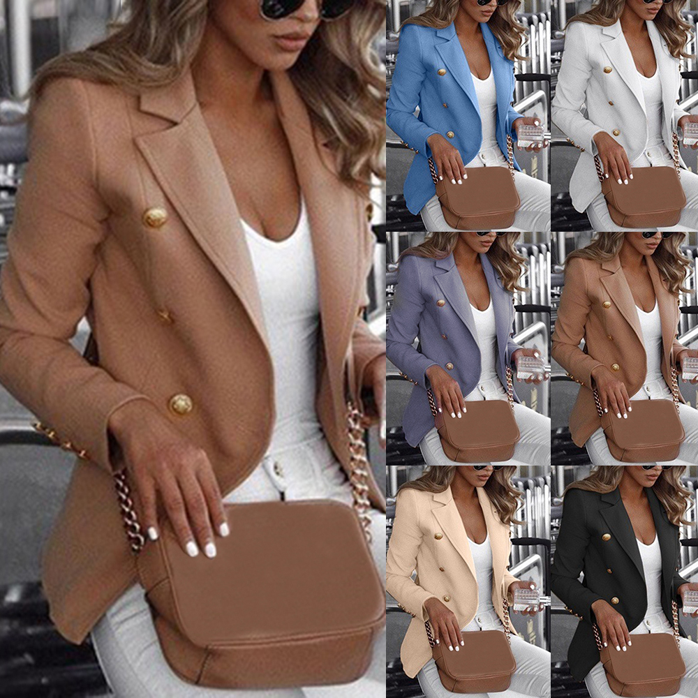 Women Long Sleeve Formal Blazer Jackets 2019 Autumn New Cardigan Office Lady Notched Slim Fit Suit Business Outerwear Plus Size